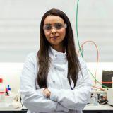 Frau, jung, Labor, Geräte, Schutzbrille