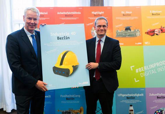 Michael Müller und Christian Amsinck bei der Vorstellung der Industriekampagne